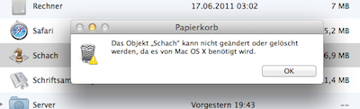"The object ""Chess"" cannot be modified or deleted because it is required by Mac OS X."