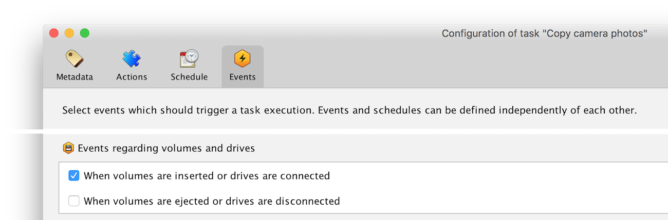 "The event ""When volumes are inserted or drives are connected"" must be enabled"